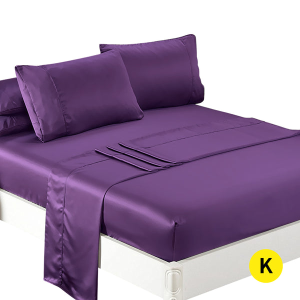 DreamZ Ultra Soft Silky Satin Bed Sheet Set in King Size in Purple Colour