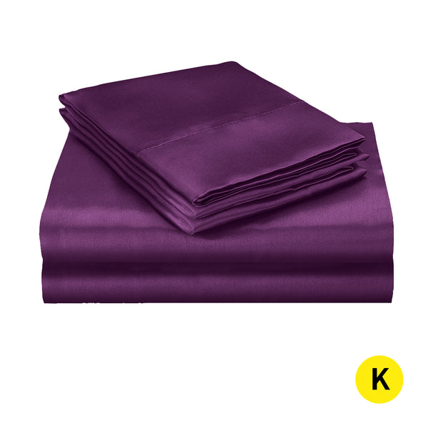 DreamZ Silk Satin Quilt Duvet Cover Set in King Size in Purple Colour