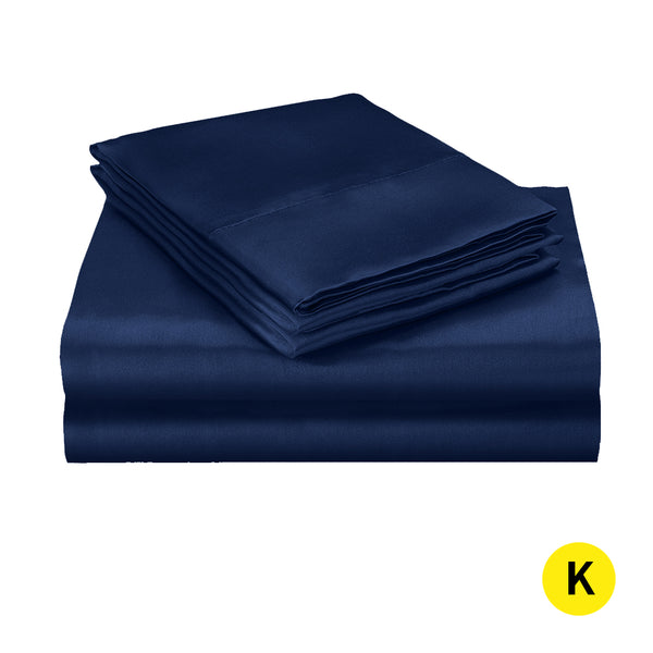 DreamZ Silk Satin Quilt Duvet Cover Set in King Size in Navy Colour