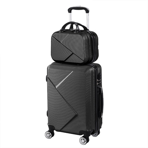"2pcs 20""Travel Luggage Set Baggage Trolley Carry On Suitcase Vanity Bag Luggages Black"