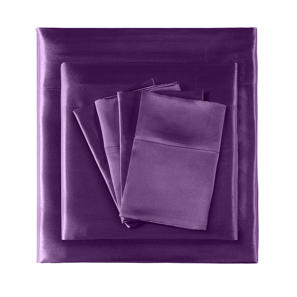 DreamZ Ultra Soft Silky Satin Bed Sheet Set in Double Size in Purple Colour