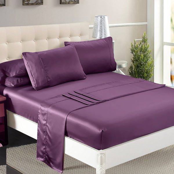 DreamZ Ultra Soft Silky Satin Bed Sheet Set in King Single Size in Purple Colour