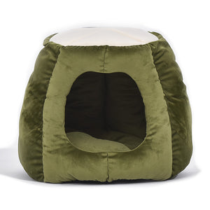 Pet Bed Cat Beds Bedding Castle Igloo Round Nest Comfy Kennel Cave Green M