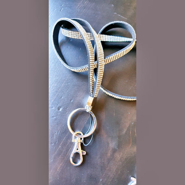 Crystal Lanyards on black suede Silver or Rose Gold