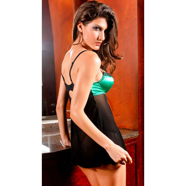 Green Satin Padded Cups Black Mesh Babydoll Chemise
