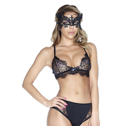 Eyelash Lace Bra and Brief Set Lingerie Black Elegant Fits AU 8-12