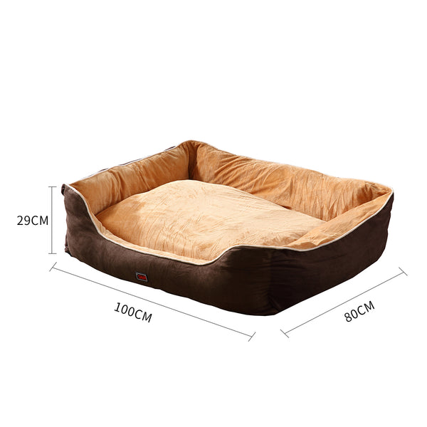 PaWz Pet Bed Mattress Dog Cat Pad Mat Puppy Cushion Soft Warm Washable 2XL Brown