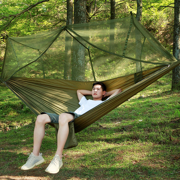 Camping Hammock with Mosquito Net Double Hammock Outdoor Portable Breathable Parachute Nylon with Carabiners and Tree Straps for 2 person