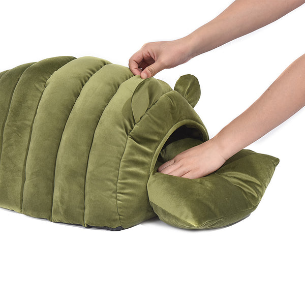 Pet Bed Comfy Kennel Cave Cat Beds Bedding Castle Cat Igloo Round Nest Green L