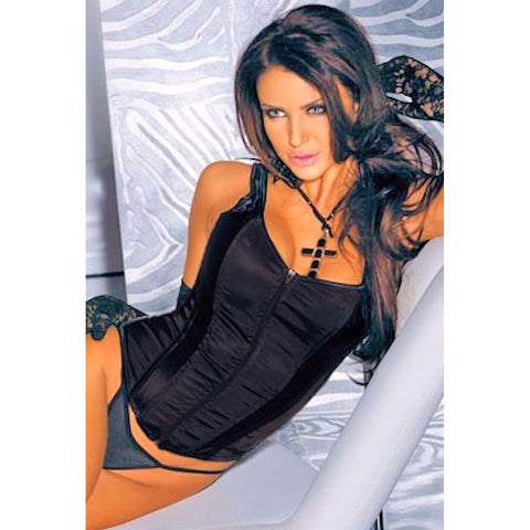 Black Satin Corset Bustier with Zip up Front sizes Small to XL