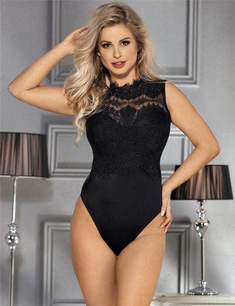 Black Lace Teddy High Neck & Cutout Back Women's Lingerie Top