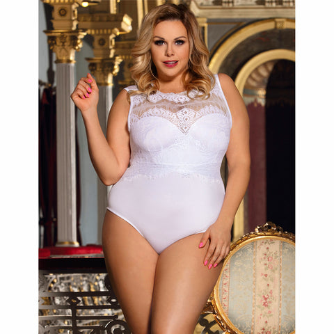 Plus Size White Lace Teddy High Neck & Cutout Back Women's Lingerie Top