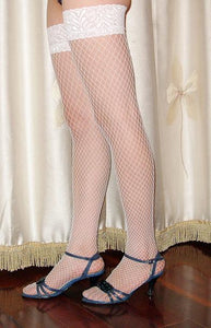 White Fishnet Stockings with Lace tops