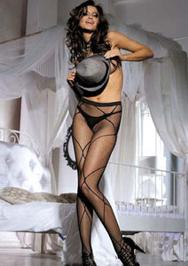 Black Criss Cross Fishnet Pantyhose Stockings Black One size