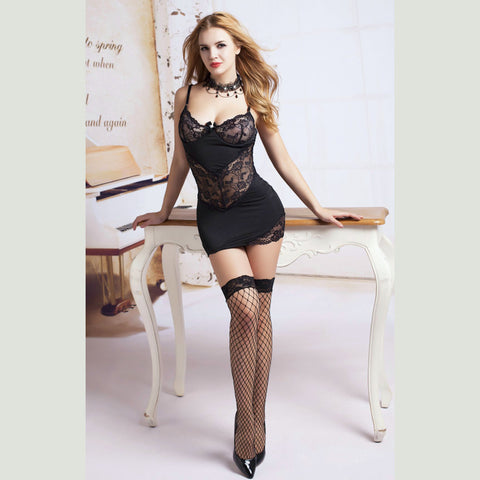 Black Microfibre & Lace Slip Babydoll, Stockings & Gstring set Women's Lingerie