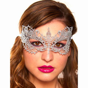 Silver Cotton Lace Venetian Masquerade Eye Mask