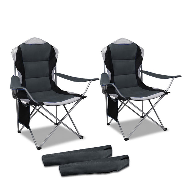 Set of 2 Portable Folding Camping Arm Chair - Grey