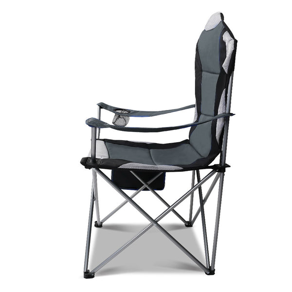 Set of 2 Portable Folding Padded Camping Arm Chair High Back - Grey