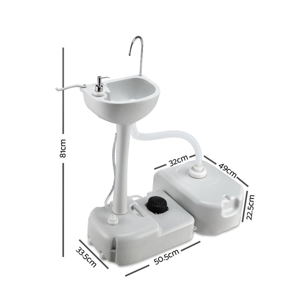 Portable Camping Wash Basin 43lts  with Foot operated pump