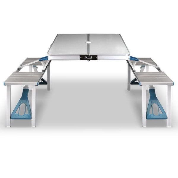 Portable Folding Camping Picnic Table and Chair Set for 4 Lightweight Aluminium