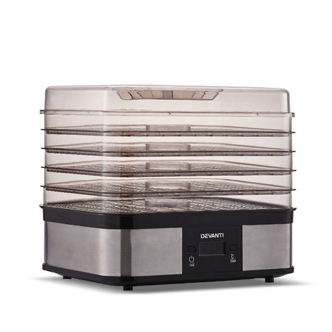 Devanti Food Dehydrator with 5 Trays - Silver