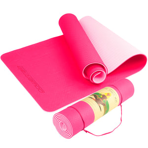 Powertrain Eco Friendly TPE Yoga Exercise Mat - Pink