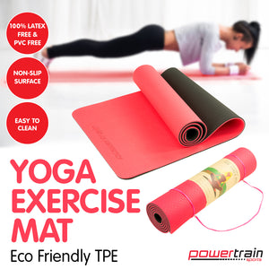 Powertrain Eco Friendly TPE Yoga Exercise Pilates Mat - Red