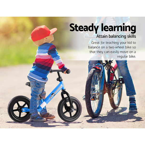 "Balance Bike Ride On Toys Push Bicycle Wheels Toddler Baby 12"" Bikes Blue"