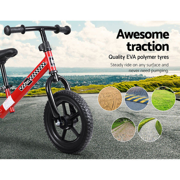 "Balance Bike Ride On Toys Push Bicycle Wheels Toddler Baby 12"" Bikes Red"