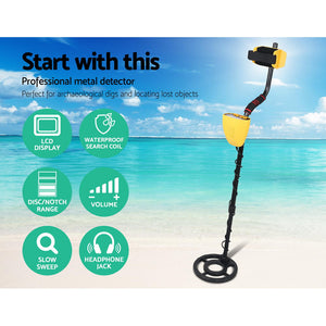 Metal Detector LCD Screen Waterproof Coil with Headphones - 6.5kHZ Yellow