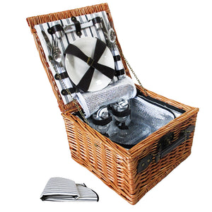 Alfresco Deluxe 2 Person Picnic Basket with Cooler Complete Set - Black
