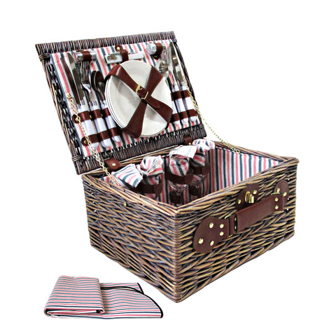 Alfresco Deluxe 4 Person Picnic Basket Hamper Complete Set