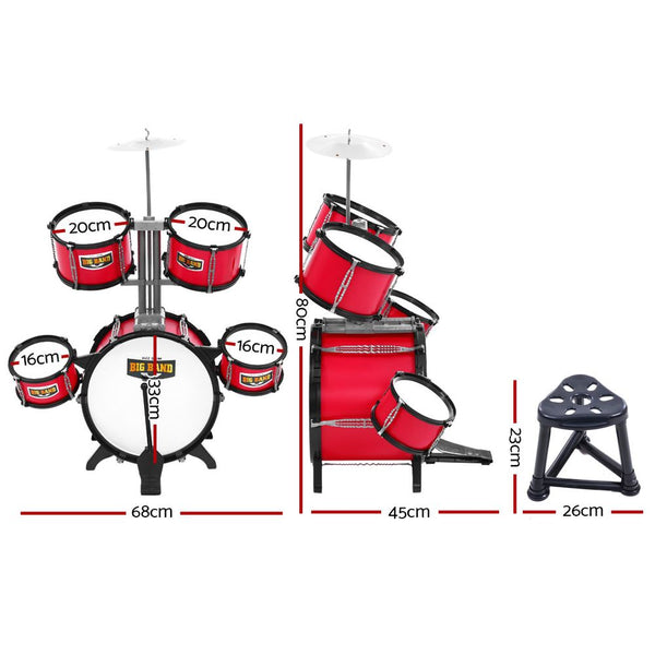 Drum Set Children Junior 7 Drums Kit Musical Play Toys Childrens Mini Big Band