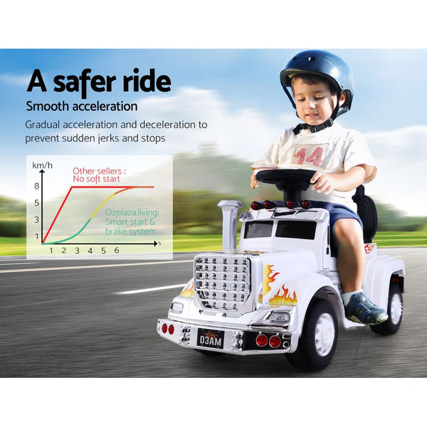 Ride On Cars Kids  Rigo Electric Toys Car Battery Truck Childrens Toy White