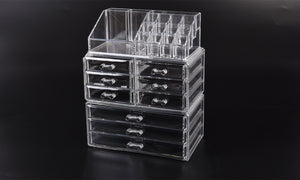 9 Drawer Clear Acrylic Cosmetic Makeup Organizer Jewellery Storage Box
