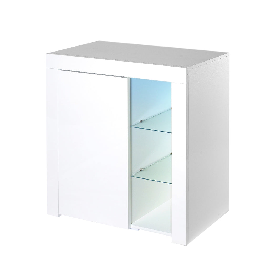 Levede Buffet Sideboard Modern High Gloss Furniture Cabinet Storage LED White