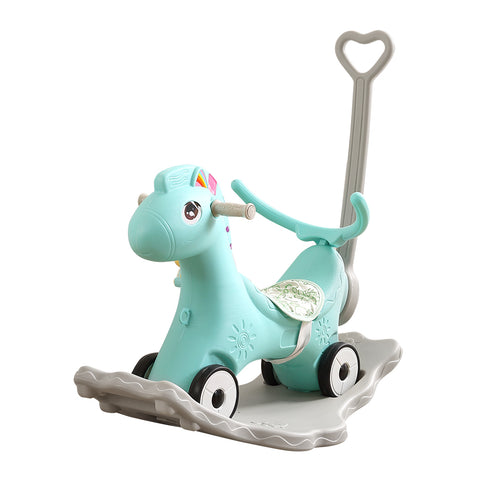 BoPeep Kids 4-in-1 Rocking Horse Toddler Baby Horses Ride On Toy Rocker Green