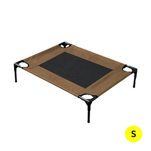 PaWz Heavy Duty Pet Bed Trampoline Dog Puppy Cat Hammock Mesh  Canvas S Tan