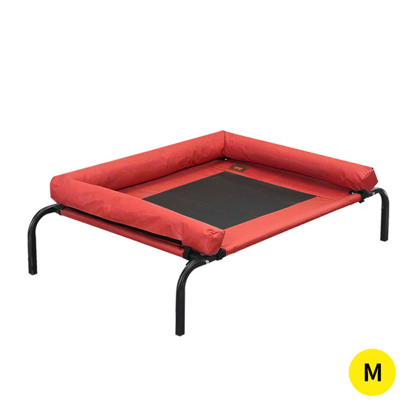 PaWz Pet Bed Heavy Duty Frame Hammock Bolster Trampoline Dog Puppy Mesh M Red