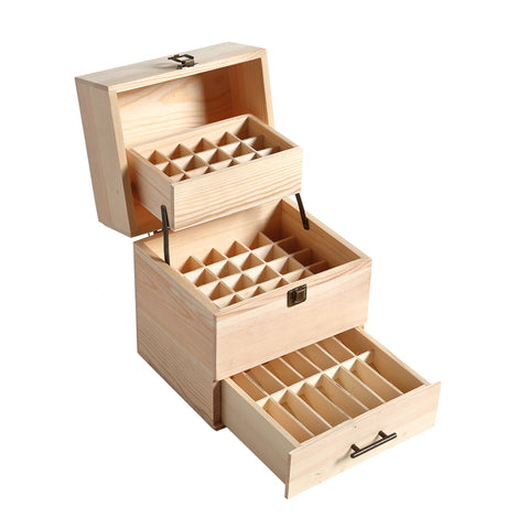 Essential Oil Storage Box Wooden 59 Slots Aromatherapy Organiser Container Case