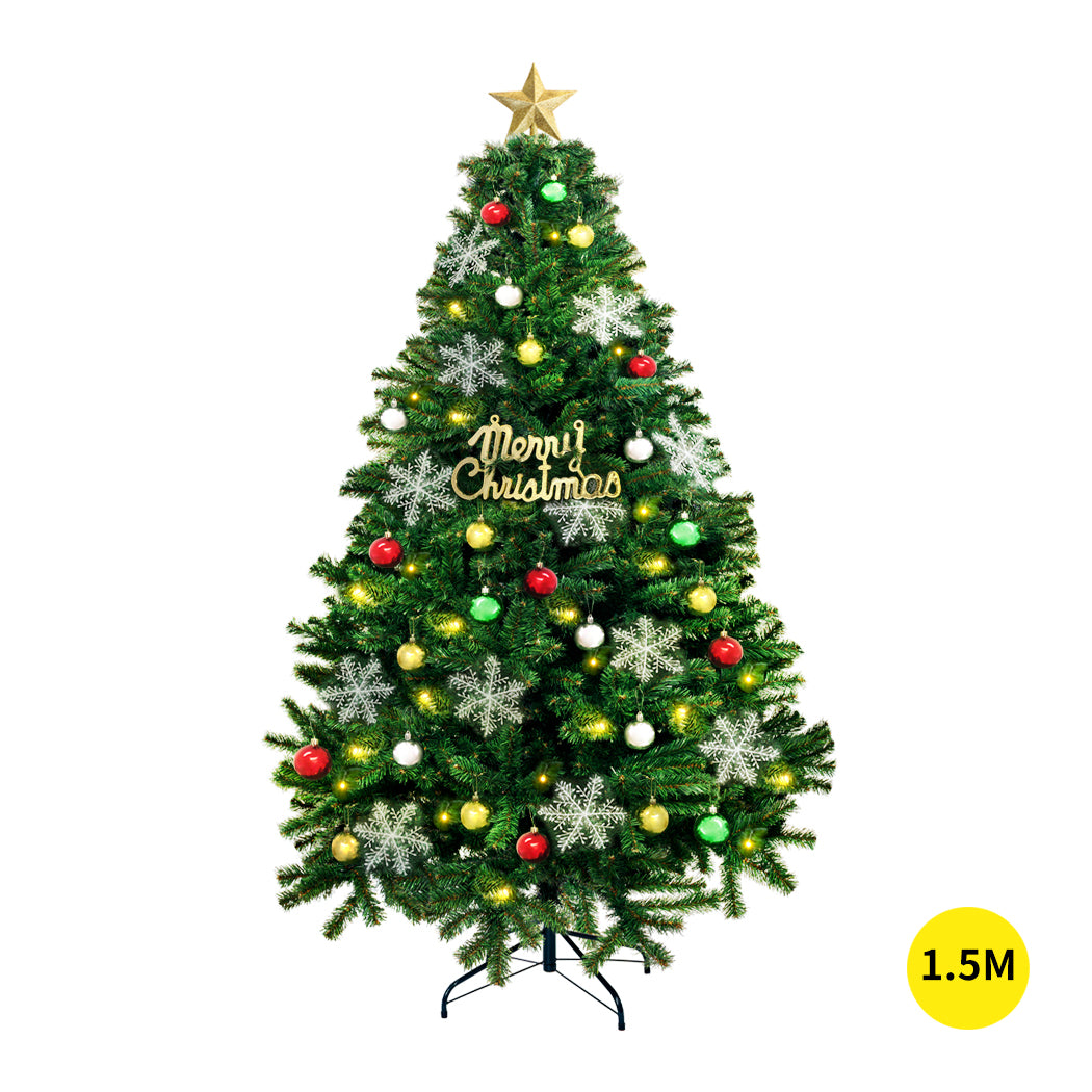 Christmas Tree Kit Xmas Decorations Colorful Plastic Ball Baubles with LED Light 1.5M Type2