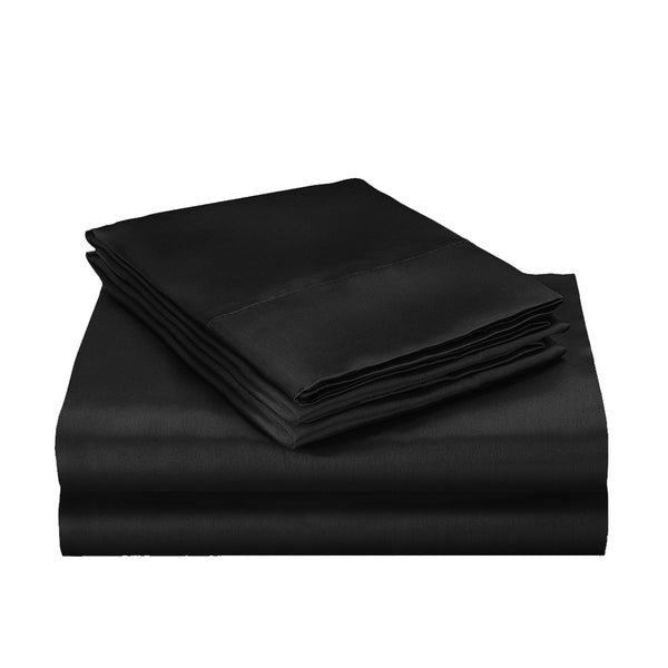 DreamZ Silk Satin Quilt Duvet Cover Set in Single Size in Black Colour
