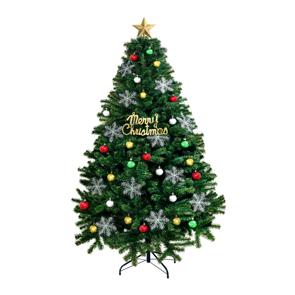 Christmas Tree Kit Xmas Decorations Colorful Plastic Ball Baubles with LED Light 2.1M Type2