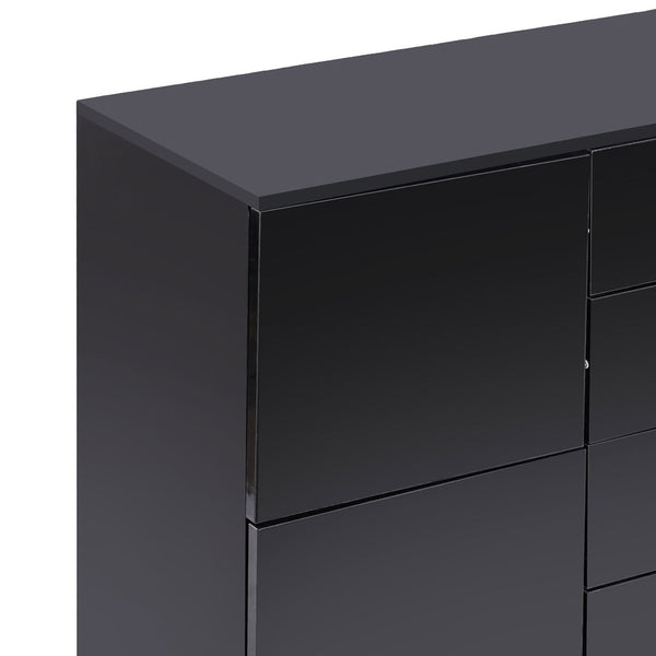 Levede Buffet Sideboard Cabinet Storage Modern High Gloss Cupboard Drawers Black 150cm