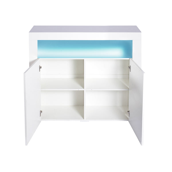 Levede Buffet Sideboard Storage Cabinet Modern High Gloss Furniture LED White