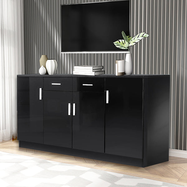 Levede Buffet Sideboard Storage Cabinet Artiss High Gloss Cupboard Drawers Black