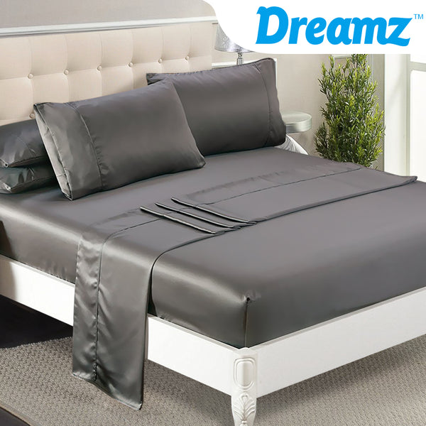 DreamZ Ultra Soft Silky Satin Bed Sheet Set in Queen Size in Charcoal Colour