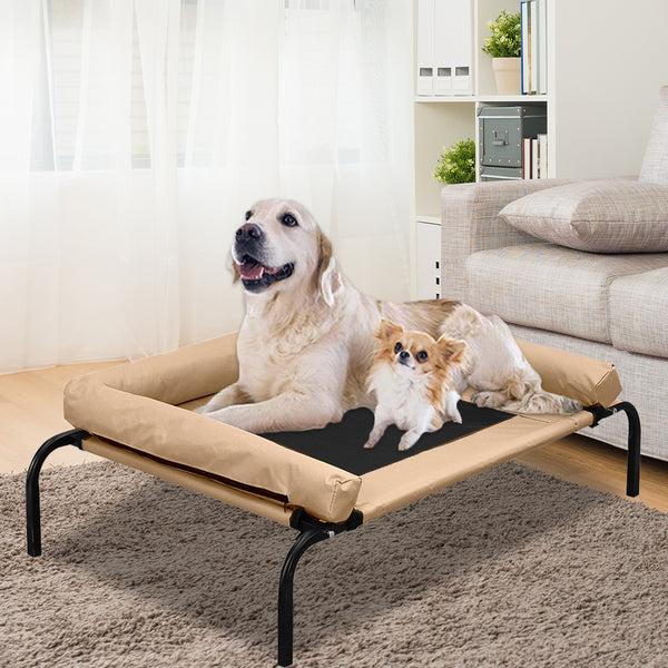 PaWz Pet Bed Heavy Duty Frame Hammock Bolster Trampoline Dog Puppy Mesh S Tan