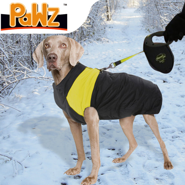 PaWz PaWz Dog Winter Jacket Padded Pet Clothes Windbreaker Vest Coat 5XL Yellow