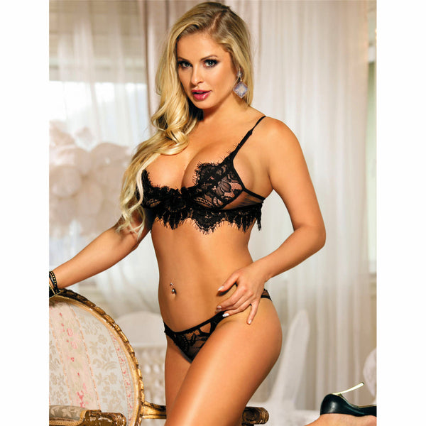 Eyelash Black Lace Bra and Thong Lingerie Set Fits AU 8-12